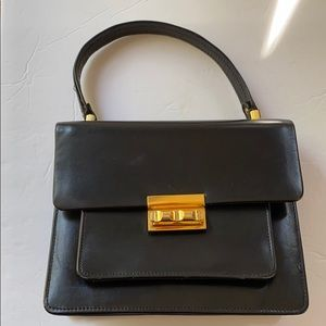 VTG | Mini Leather Satchel Black/Gold Hardware
